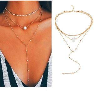 Just In🎉MultiLayer Faux Pearl/Crystal Necklace